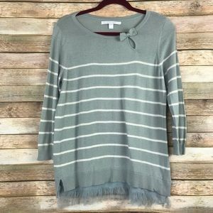 LC Lauren Conrad striped 3/4 sleeve bow top Large
